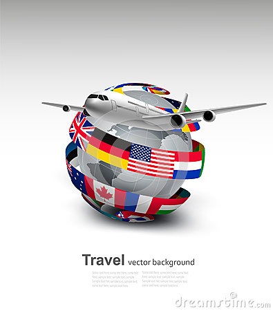 Travel background. Globe with a plane and a circle of flags.