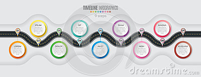 Navigation map infographic 9 steps timeline concept. Winding roa
