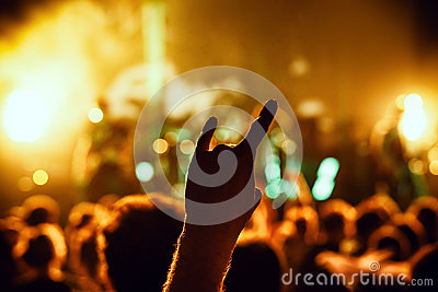 Crowd cheering at concert