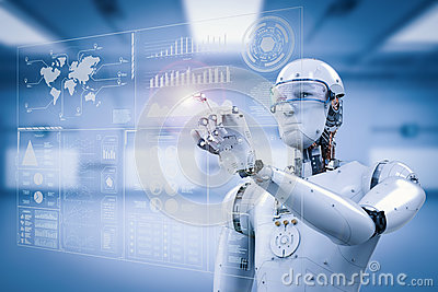 Robot working with digital display