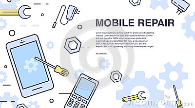 Concept of mobile phone repair. Horizontal banner with smartphone and tools. Service electronic technic. Colorful vector