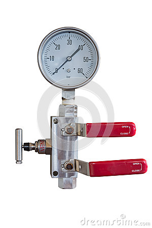 Pressure gauge and fitting with double block and bleed valve manifold isolate on whit with clipping path