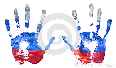 The imprint of the hands of the Russian flag colors. The flag of the Russian Federation
