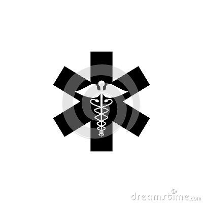 Caduceus solid icon, Medicine and health sign