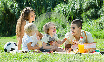 Family on picnic at countryside