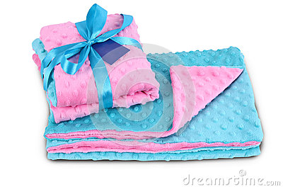 Blue and pink bedding