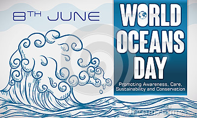 Hand Drawn Wave with Some Precepts for World Oceans Day, Vector Illustration