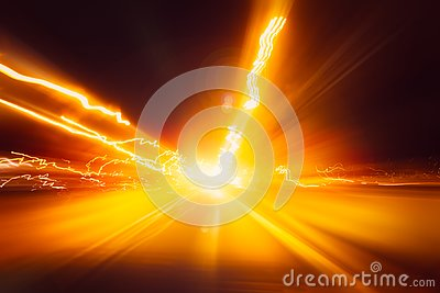 Blur high speed on night superhighway road fast moving motion drive with night light trail
