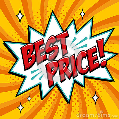Best price - Comic book style word on a yellow background. Best price comic text speech bubble. Banner in pop art comic