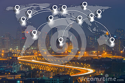 Map pin flat network conection on world global Cartography