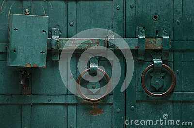 Old steel door with lock