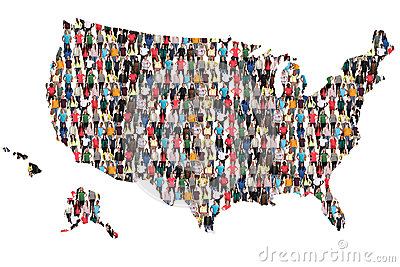 USA United States map multicultural group of people integration