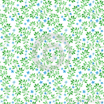 Ditsy flowers, herbs, grasses. Ecological repeating pattern. Water color