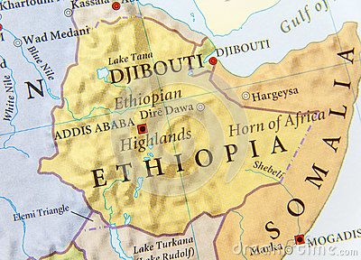 stock image of geographic map of ethiopia with important cities