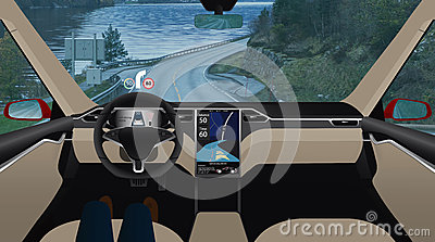 Driverless car on the road.