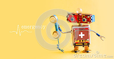 Emergency helpline medical service call center concept. Friendly robot doctor with retro styled phone. First aid