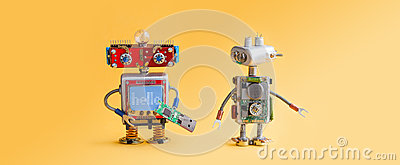 Robots on yellow background. 4th industrial revolution automation concept. Computer service maintenance, repair fix. IT