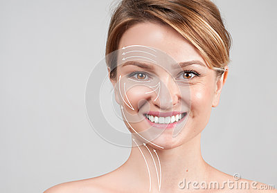 Woman with massage lines. Skin Care. Face lift anti-aging treatment