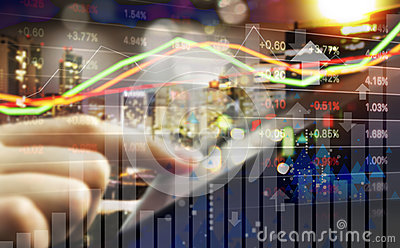 Business concept of business woman hand trading stock market
