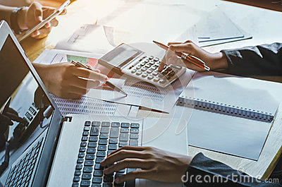 Teamwork  business woman accounting concept financial