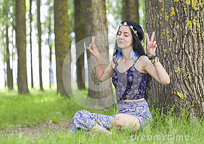 Hippie Girl Dreaming about Peace