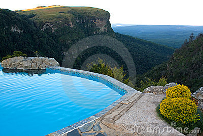 Rock pool with a view over a valley, South Africa