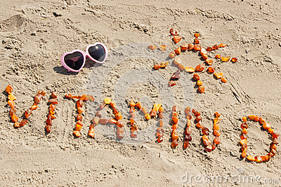 Sunglasses, inscription vitamin D and shape of sun at beach, concept of summer time and healthy lifestyle