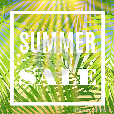 Summer sale banner with palms and sun.