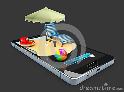 3d Illustration of Online booking mobile app mockup showcase, Sun umbrella, chair and toys on the smart phone, isolated