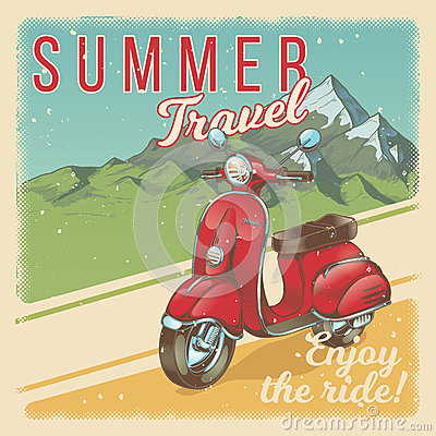 Vector illustration, poster with red vintage scooter, moped in grunge style.