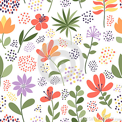 Simple doodle flower and dots pattern. Vector illustration. The elegant template for fashion prints.