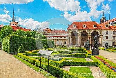 The Baroque Wallenstein Palace in Prague and its french garden in spring.