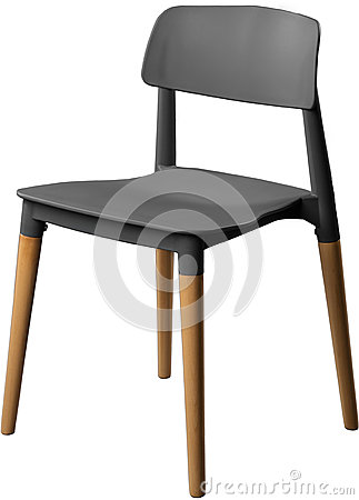 Gray color plastic chair, modern designer. Chair on wooden legs isolated on white background. furniture and interior