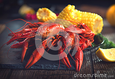 Crayfish. Creole style crawfish with corn and potato