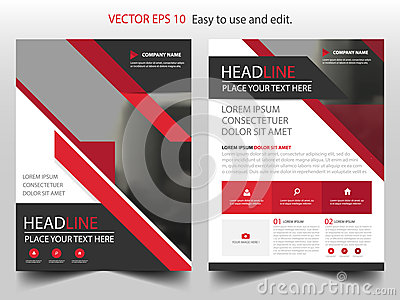 Red abstract triangle annual report Brochure design template vector. Business Flyers infographic magazine poster.Abstract layout