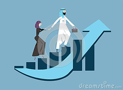 Arab business man and woman in arabian national dress walking up a rising graph of income growth. Vector illustration