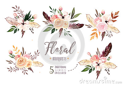 Hand drawing isolated boho watercolor floral illustration with leaves, branches, flowers. Bohemian greenery art in