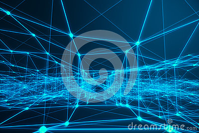 Technological connection futuristic shape, blue dot network, abstract background, blue background, Concept of Network