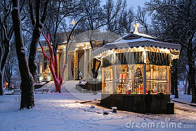 Courthouse and gazebo in the snow