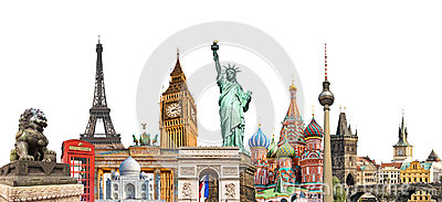 stock image of world landmarks photo collage isolated on white background, travel tourism and study around the world concept