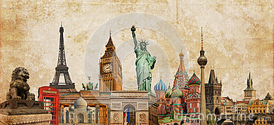 World landmarks photo collage on vintage tes sepia textured background, travel tourism and study around the world concept, vintag