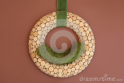 Digital Photography Background Of Wooden Wreath Prop Isolated On Brown Backdrop