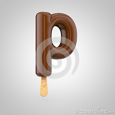 Icecream letter P lowercase isolated on white background