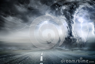 Powerful Tornado On Road