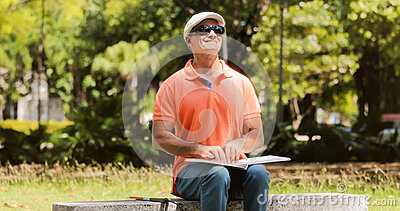 Handicapped People With Disability Blind Man Reading Braille Boo