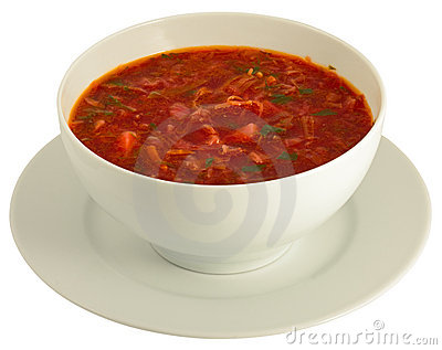 Plateful of borscht isolated on white