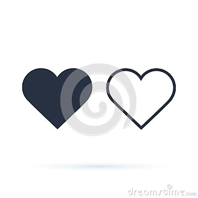Heart Icon Vector. Outline and full hearts. Love symbol.