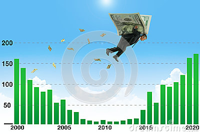 Businessman soaring on wings of money over low earnings part of graph a metaphor for financial and stock market success