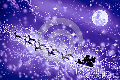 Christmas purple background. Silhouette of Santa Claus flying on