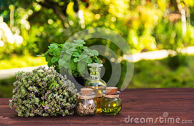 Aromatic herbs and essential oils. Natural cosmetics. Natural medicines. Peppermint and fragrant thyme